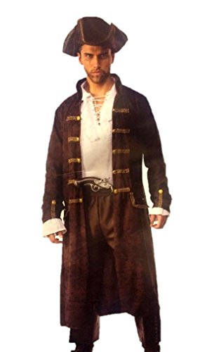 Pizazz! Men's Captain Cutthroat Deluxe Costume, Brown/White, -