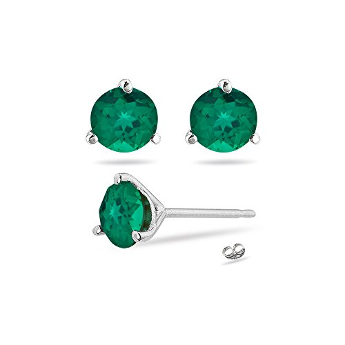 3.01-4.12 Cts of 8 mm AAA Round Russian Lab Created Emerald Stud Earrings Martini-set in 14K White Gold - Valentine's Day -