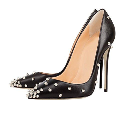 MerMer Zapatos de tacon Alto negro puntiagua de Moda silver tachuelas