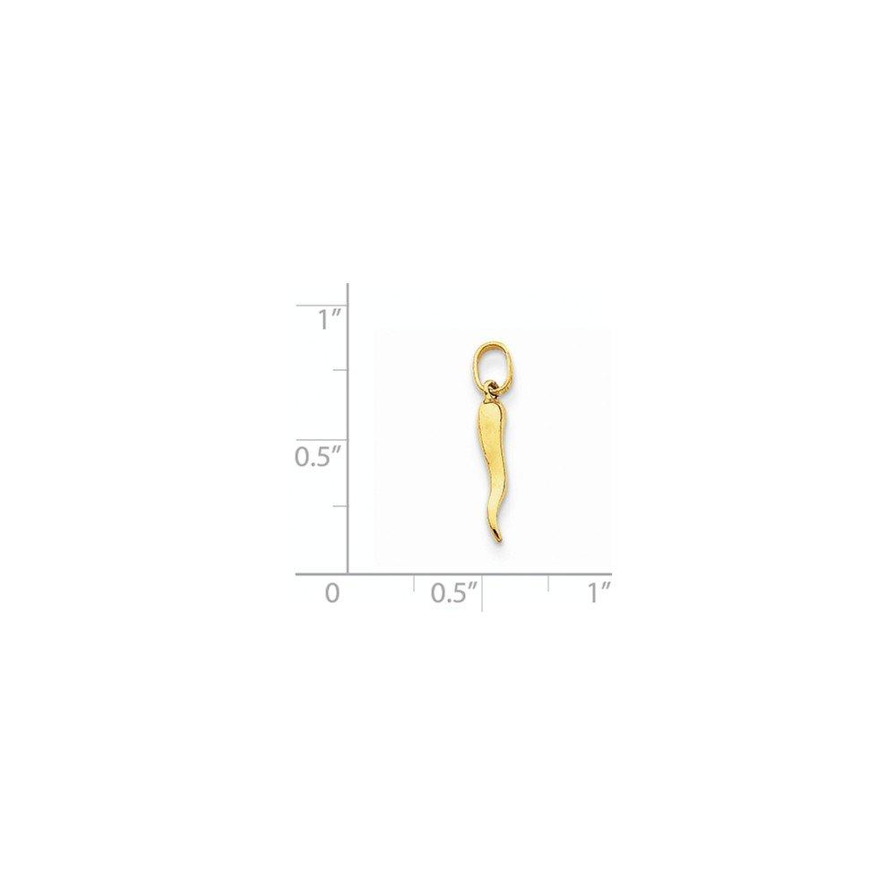 14K Yellow Gold Small Italian Horn Charm Pendant