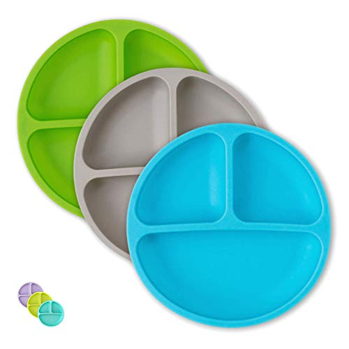 Hippypotamus Toddler Plates - Kids Plates - 100% Silicone Divided Plate for Baby - BPA Free - Microwave Safe Dishes - Set of 3 - Blue, Gray, Green