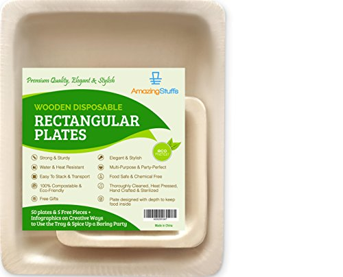 "55 Elegant Disposable Plates - Bamboo Wooden Paper - 10"" Rectangular Biodegradable Birthday Party, Catering, Serving Dinnerware - Eco-Friendly Dining Tableware - Kitchen & Camping Dishes"