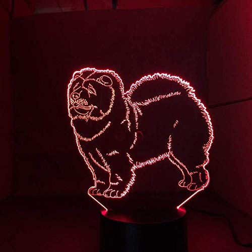 Buntes 3D Nachtlicht Chow Chow Dog Lamp Kid Toy Led Touch Table Lamp 7 Colors Flashing Led Light Ations For Weihnachten…