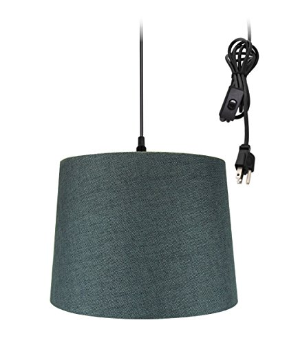 - Plug-In Pendant Light By Home Concept - Hanging Swag Lamp Drum Granite Grey - Perfect for apartments, dorms, no wiring needed (Grey, Black One-light)