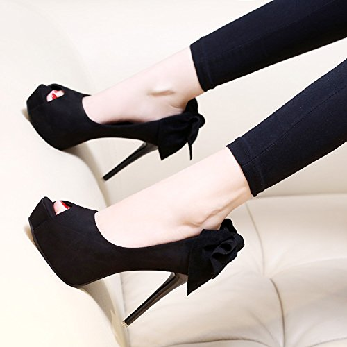KHSKX-Black Butterfly Fish Mouth High-Heeled Shoes Female All-Match Waterproof Sandals New Summer Autumn Fine Documentary Shoes Tide Black avKUXPxnpJ