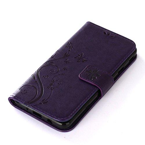 Yiizy Samsung Galaxy J7 Prime / Galaxy On Nxt Custodia Cover, Erba Fiore Design Sottile Flip Portafoglio PU Pelle Cuoio Copertura Shell Case Slot Schede Cavalletto Stile Libro Bumper Protettivo Borsa