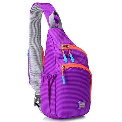 Lecxci Small Outdoor Chest Sling Shoulder Bag, [Ultra-Lightweight Waterproof Nylon] [Hiking Cycling Camping Travel] Sling Shoulder Chest Daypack Backpack Bag for Kids/Man/Women/College Teens (Purple)