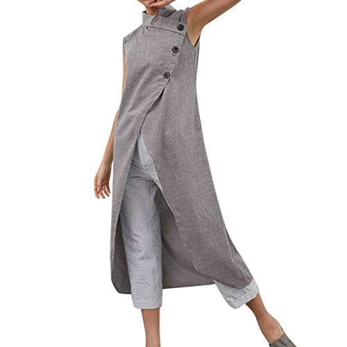 - Women Ladies Cotton and Linen Button Sleeveless Large Size Split Dress D Gray