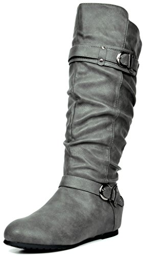 DREAM PAIRS Women's JOIES Grey Knee High Low Hidden Wedge Boots Size 8.5 M US