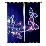 bedroom window treatment ideas Window Treatments Curtains Room Window Panel Set for Living/Dining/Bedroom, Pink Purple Butterfly Shining Light Under Blue Sky 52 by 63 Inch, 2 Panels