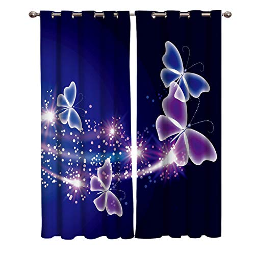 Window Treatments Curtains Room Window Panel Set for Living/Dining/Bedroom, Pink Purple Butterfly Shining Light Under Blue Sky 52 by 63 Inch, 2 Panels