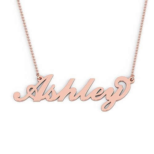 Rose Gold Necklace 10k (10K Rose Gold Personalized Name Necklace with a 18