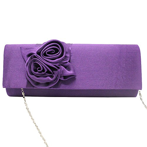 Cckuu Floral Satin blue Pleated Clutch Wedding Womens Handbag Purple Bridal Ladies Navy Bag Prom rrwpx6qHE