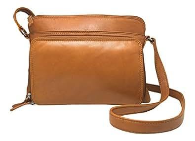 ILI Womens Leather Shoulder Handbag with Side Organizer (Antique Saddle)