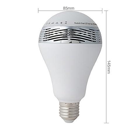 eDealMax altavoz Bluetooth inalámbrico inteligente luz E27 6W RGB LED Color de la ampolla de la lámpara Cambio estéreo de Audio del altavoz reproductor de ...