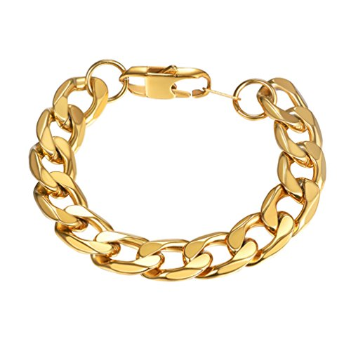 PROSTEEL Large Big Chain Bracelets 18K Gold Palted Stainless Steel Stacking Layering Curb Chain Heavy Cuban Link Bracelet Men Women Hip Hop Jewelry - Large Chain Curb