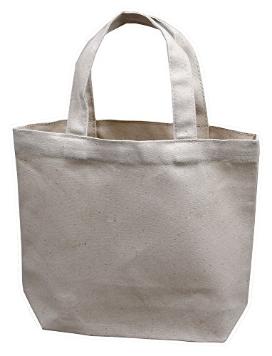 "Small Tote Bag 11""x9""x3"", Natural Color, 100% Cotton Canvas - Pack of 12"