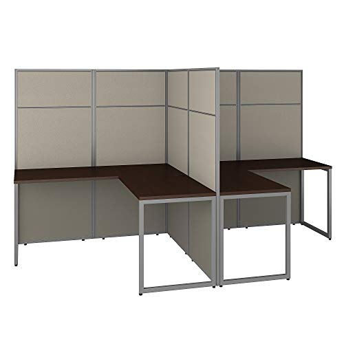 - Bush Business Furniture EODH560MR-03K Easy Office 2 Person L Shaped Cubicle Desk Workstation with 66H Panels, 60Wx60H, Mocha Cherry