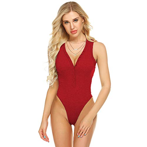 - TIANMI Women Sexy Solid Sleeveless Jumpsuits V-Neck Summer Bodysuits Fashion Casual Plus Size Ladies Rompers Red