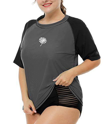 Anwell Ladies Short Sleeve Rash Guard Shirt Plus Size Loose Fit UV Shirt Gray 2X by Anwell (Image #4)