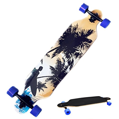 Cheesea Complete Wood Print Longboard Dancing Road Drop Downhill Speed Skateboard with 4 Wheels (Beach)