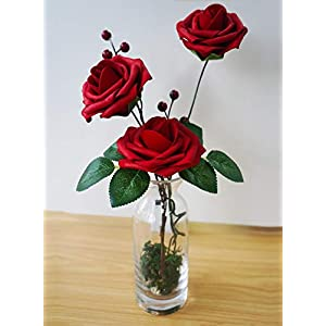 JaosWish 25PCS Real Touch Artificial Roses Fake Flowers with Stem DIY for Wedding Bouquets Baby Shower Party Home Decorations 7