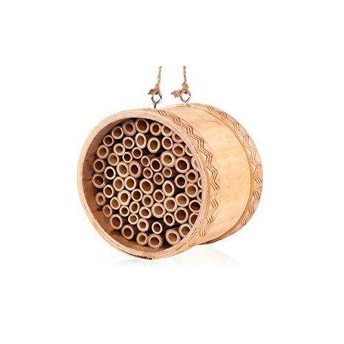KIBAGA Mini Mason Bee House - Handmade Natural Bamboo Bee Hive -...