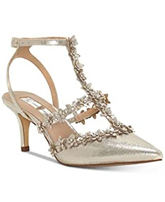 INC International Concepts Carma Studded Pumps Pearl Gold Floral 9.5M