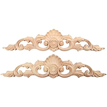 MUXSAM 2pcs 30x6.5cm Wood Carved Long Onlay Applique Unpainted Furniture Door European Style
