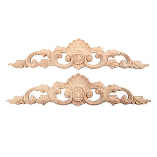 2pcs 30x6.5cm Wood Carved Long Onlay Applique Unpainted Furniture Door European Style