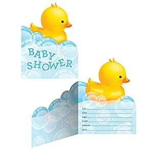 Amazoncom Rubber Ducky Baby Shower Invitations Kitchen Dining