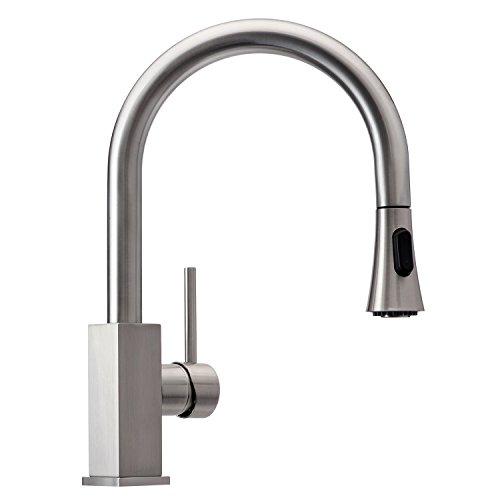 Wasserrhythm Stainless Steel Kitchen Sink Faucet with Pull Down Sprayer Single Lever Brushed Nickel with Deck Plate (Nickel Deck Plate)