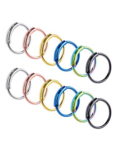 Hestya 12 Pieces Seamless Continuous Hoop Earrings 316L Stainless Steel Piercing Ring Tube Huggies for Tragus Cartilage Nose Lip, 6 Colors