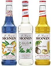 Monin Triple Cocktail Syrup Pack - Blue Curacao, Mojito Mint & Pina Colada 3 x 70cl