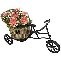 Turuncu Çiçekli Plastik Bisiklet Yapay Çiçek 20x10 cm