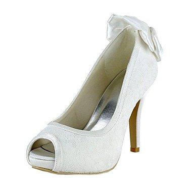 RTRY Las Mujeres'S Wedding Shoes Bomba Básica De Satén Stretch Primavera Verano Vestido De Novia Bowknot Stiletto Talón Marfil 4A-4 3/4De Marfil Us4-4.5 / Ue34 / Reino Unido2-2.5 / Cn33 US9.5-10 / EU41 / UK7.5-8 / CN42