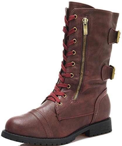 DREAM PAIRS Womens New Winter Lace Up Combat Booties Boots Boots