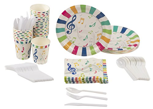 Disposable Dinnerware Set - Serves 24 - Music Party Supplies for Kids Birthdays, Includes Plastic Knives, Spoons, Forks, Paper Plates, Napkins, - Party Music Birthday Girls
