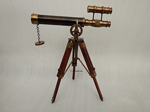Double Barel Victorian London (1915) 14'' Brass Telescope on Tripode Stand Antique Home Decor Table Top. by US HANDICRAFTS (Image #4)