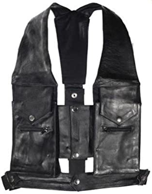 "Men""s Biker Tactical Commando style Vest Cowhide Leather Expandable One Size Fits Most 4 Pocket Open Back Adjustable 44-56 Inner Lining"