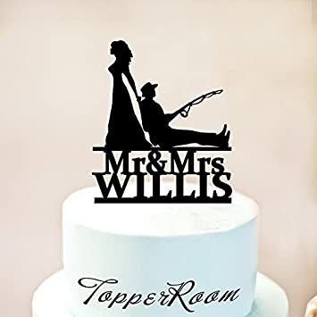 Fishing Theme Cake Topperfishing Wedding Bride And Groom Couple