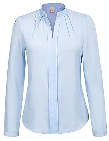 Office Lady Basic Long Sleeve Collared Chiffon Blouse Size M Blue (Long Sleeve Office)
