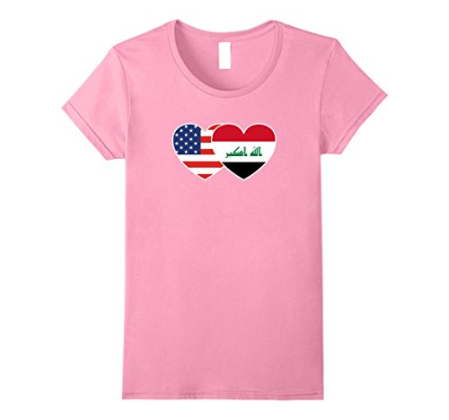 Women's Iraq USA Flag Twin Heart T Shirt for Iraqi Americans XL Pink