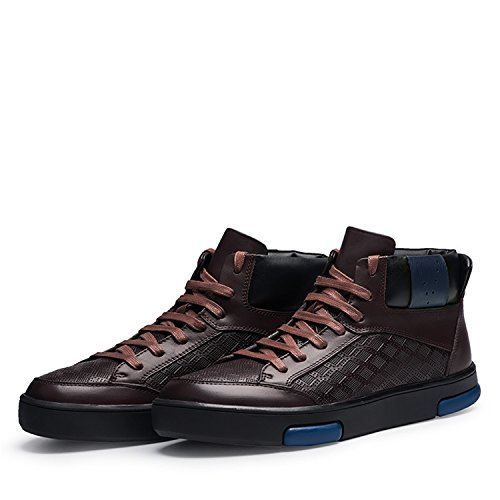 Rainstar Zapatos De Trabajo De Cuero Genuino Para Hombre Forro Cálido Bota De Combate Militar Marrón Estampado