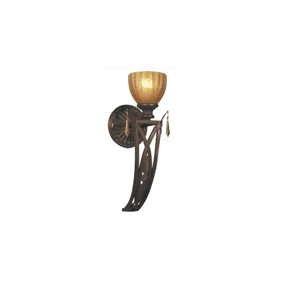 Crystorama Wrought Iron Wall Sconce Handpainted with Amber Glass drapped with Golden Teak crystal