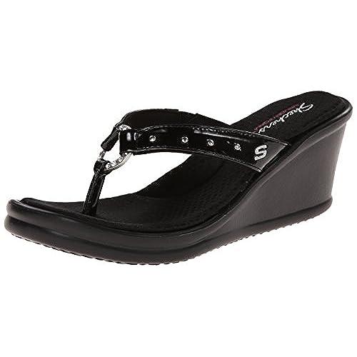 3bf6d8a1f4ad Skechers Cali Women s Rumblers Cat s Eye Memory Foam Wedge Sandal 85 ...