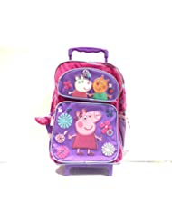 New Peppa Pig Purple Large Rolling Backpack