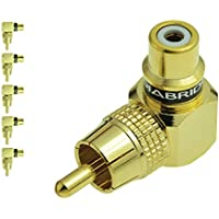 Mediabridge RCA Right Angle Adapter - 90° Female to Male Gold-Plated Connector - 5 Pack - (Part# CONN-RCA-RA-5PK )