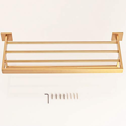 WINCASE Bathroom Bath Towel Shelf, Towel Holder, Brushed Gold Finished 23.6 Inch Solid Stainless Steel Construction, Vintage Style Wall Mounted by WINCASE (Image #4)