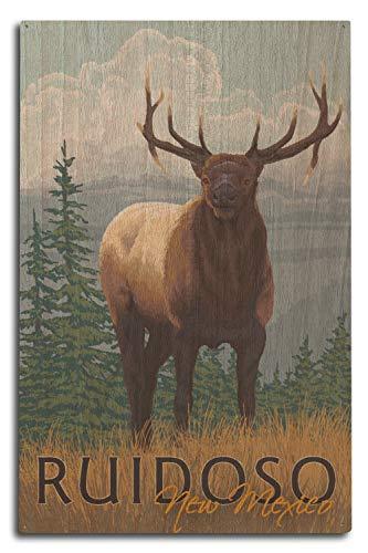 (Lantern Press Ruidoso, New Mexico - Elk Scene (10x15 Wood Wall Sign, Wall Decor Ready to Hang))